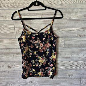 Les Amis Butterfly & Floral Print Top